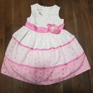 Jessica Ann Pink and white Eyelet Toddler Dress